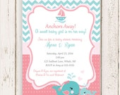 Nautical Baby Shower Invitations, Nautical Girl Baby Shower, Teal and Coral, PRINTED and comes with envelopes