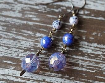 Purple Dangle Earrings - Bold Purple - Boho Earrings - Wire Wrap - Purple Globe Earrings - Round Earrings - Bead Soup Jewelry