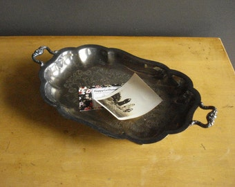 Vintage Silver Scalloped Tray - Oval Silverplate Mini Platter or Mini Serving Tray with Feet