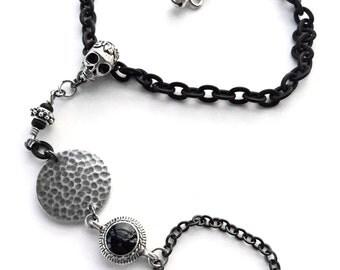 Black Metal Skull Barefoot Sandal, Sugar Skull Chain Foot Jewelry, Skull Sand Sandal, Anklet, Ankle Bracelet OOAK