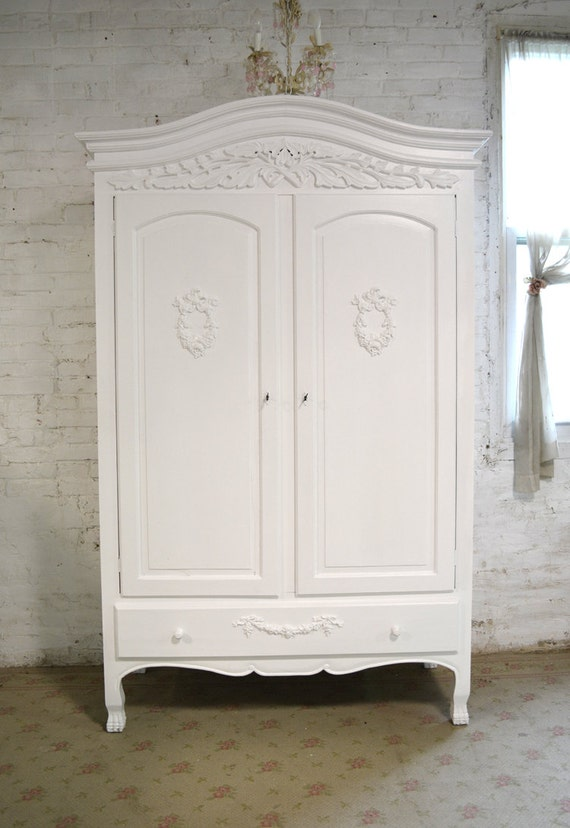french armoire painted cottage chic shabby french romantic. Black Bedroom Furniture Sets. Home Design Ideas