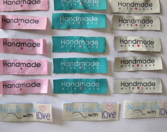 20 Handmade with love woven label tag clothes  fabric crafts craft scrapbooking scrapbook papercrafts sew on heart labels Valentines