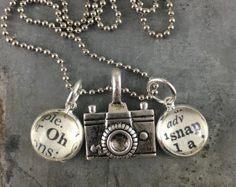 Dictionary Word Necklace - Oh Snap with Camera Charm