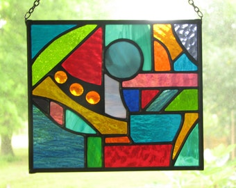 Abstract Geometric Stained Glass Suncatcher IV 7 x 6
