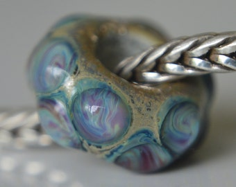 SALE - Unique Handmade Lampwork Glass European Charm Bead - SRA - Fits All Bracelets