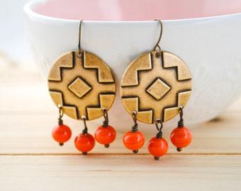 Aztec Dangle Earrings - Orange Earrings - Boho Earrings, Tribal, Southwest, Geometric, Warrior