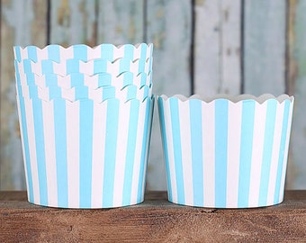 Sky Blue Stripe SMALL Baking Cups, Small Dessert Cups, Frozen Party Cupcake Cups, Stripe Candy Favor Cups, Easter Candy Cups (24 Count)
