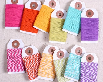 Bright Rainbow Bakers Twine, Rainbow Twine, Rainbow String, Cotton Twine, Gift Wrap, Bakers Twine Sampler, Baker's Twine, Bakers String