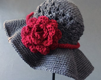 Crochet PATTERN Chloe Sunhat Hat with Rose Girls Crochet Hat Pattern Includes 5 Sizes