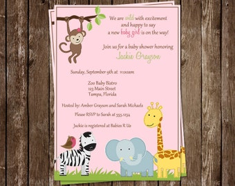 Girls Jungle Baby Shower Invitation, Pink, Safari Animals, Little, Monkey, Giraffe, Zoo, 10 Printed Invites, FREE Shipping, Customizable