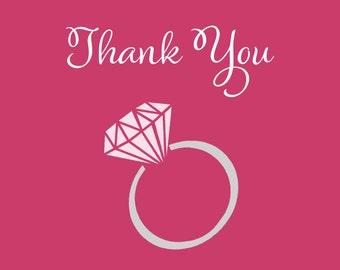 Engagement Ring, Bridal Shower, Thank You Cards, Pink, Gray, Wedding, Engagement, 24 Folding Notes, FREE Shipping, SSYEP, She Said Yes