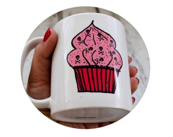 Poison Cupcake Coffee Mug, Sublimated By Hand, Baking, Baked Goods, Cake, Pink, 11oz Coffee Cup, Hot Beverage, Diner Mug, Customizable Gift