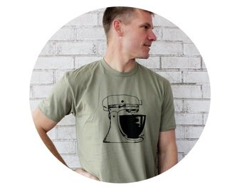 Men's Mixer T Shirt, Light Olive Cotton Crewneck , Unisex, Baking, Baker, chef, Man Clothing, Hand Printed, Screenprint Tshirt, Graphic Tee