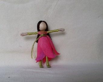 Pink Flower Fairy - Fairy Doll, Waldorf doll, small fairy doll, Rosebud