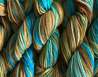 Merino Wool Yarn DK Sport Weight Handpainted Hand Dyed in Clock Works Aqua Yellow Olive Brown