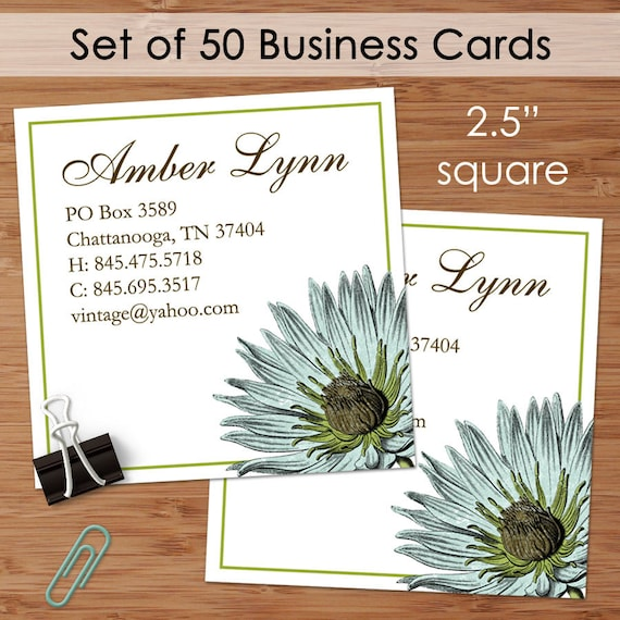 Botany 50 custom square business or calling cards for Custom square business cards
