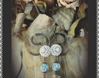 Shabby Chic Parasol Earrings with Vintage Buttons