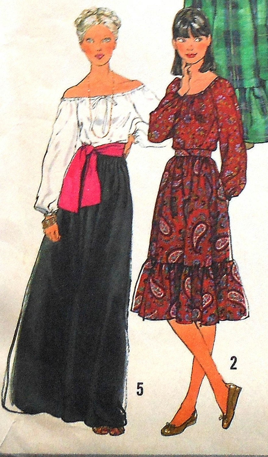 Vintage BOHO Skirt and Blouse Sewing Pattern UNCUT Simplicity