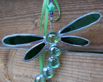 Stained Glass Dragonfly Car Dangle-handmade-suncatcher-birthday-unique-mothers day-gift for her-gift for him-window decor- embellishment