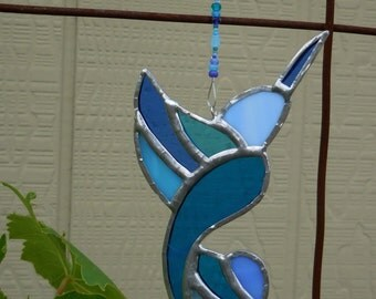 Stained Glass Hummingbird - Suncatcher -Handmade - Blue - Birthday - House Warming - Mothers Day - Fathers Day - Window Decor - Gift