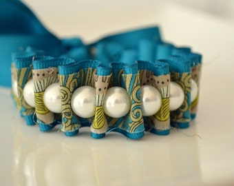 Liberty of London. Deep Teal Libbie Ribbon Bracelet. Pearl Bracelet. Fabric Cuff. Gift for Her. Gift for Mom. Christmas Gift.
