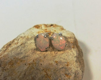 White Opal Stud Earrings * Sterling Silver * 1.85 Total CTs * Genuine Gemstone October Birthstone Jewelry * Rolling Reds * Tejidos
