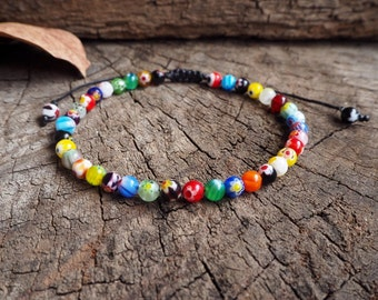 Morano Unisex Knot Anklet, 6mm beads