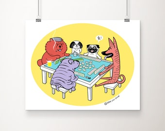 "Dogs Playing Mahjong - 11""x14"" art print"