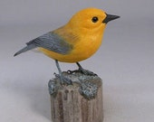 Prothonotary Warbler Wooden Hand carved Bird