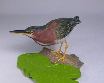 "7"" Green Heron Hand Carved Wooden Water Bird"