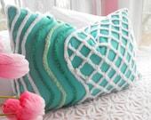 BEACH COTTAGE AQUA Vintage Chenille And Minky Fabric Pillow Sham