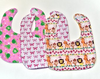 Cute Baby Girl Bibs Set of 3 Infant Bibs Shower Gift New Mom Baby Trend Drool