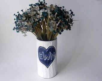 Custom Monogrammed Gift / Vase with initials carving / navy blue heart  / Personalized gift / wedding gift / customized vase / made-to-order