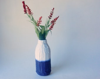 Colorblock White and Navy Blue Bottle Vases  /navy and  white vase / small vase / bud vase
