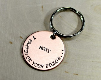 I farted on your pillow because I love you copper dog tag with love from your pooch to your heart