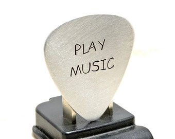 Guitar Pick Handmade and Hand Stamped with Play Music in Aluminum - GP244