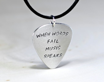 When words fail music speaks sterling silver guitar pick necklace - solid 925 NL121