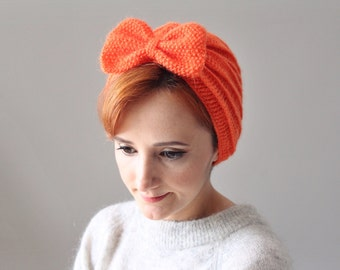 Neon Orange Crochet Beret with Bow