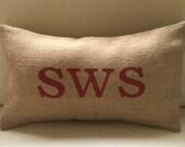 Valentine Welsh SWS KISS burlap hessian pillow cushion cover