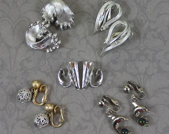 Lot of 5 Pairs of Vintage Silver and Gold Tone Clip On Designer Earrings