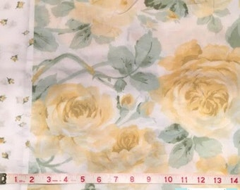 Twin Vintage Flat Sheet with Large Yellow Roses