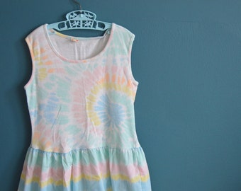 Vintage Big Girl's 80s 90s Pastel Tie Dye Dress - Size 12