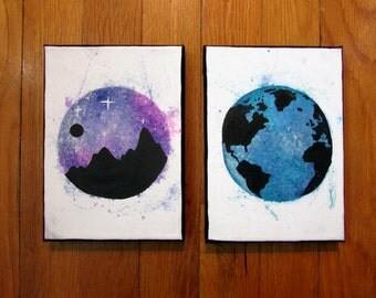 """Tie-dye and Mountains/Earth Acrylic/Ink Canvas Painting, 5x7"""" Wall Decor"""