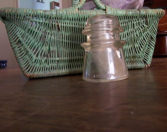 Insulator ARMSTRONG'S NO. 2 Telephone Telegraph, Clear Glass, Threaded, Smooth Bottom, Marked 55  49_ Repurpose, Salvage