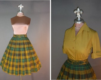 50s dress vintage 1950s GREEN GOLD PLAID cotton top shirt and full skirt 2pc dress set