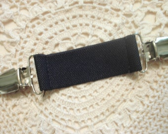 Dress Clip Black Elastic With Silver Tone Clips