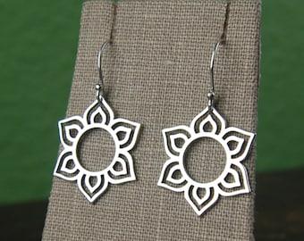 Round lotus flower pendant earrings in sterling silver, lotus petal, flower earrings, sterling silver lotus