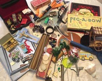 Junk Treasures. Junk Drawer, destash, mixed media, upcycle, steampunk. Mosaic Supplies. Lots of little pieces for crafting! 200+ Pieces. #6