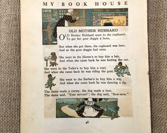 Vintage Mother Goose Nursery Rhyme Print to Frame 1920. Old Mother Hubbard, Jack Be Nimble, Boys & Girls. Classic Illustration Art to Frame