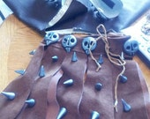 Reserved for Maggy, Customized Astrid Costume / HTTYD Viking Outfit, Leather Suede with hand sewn skulls and spikes